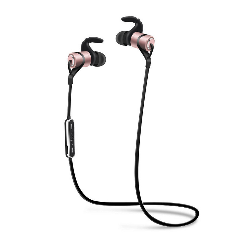 New Design Sports Wireless Bluetooth Earphone Anti Sweat Metal Headset Earbuds Earphones With Mic For IPhone