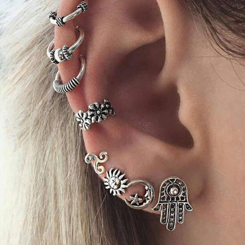 8Pcs/Set Boho Women Punk Earrings Leaf Earcuff Hamsa Ear Clip Earrings Without Piercing Vintage Kolczyki Metal Boucle D'Oreille