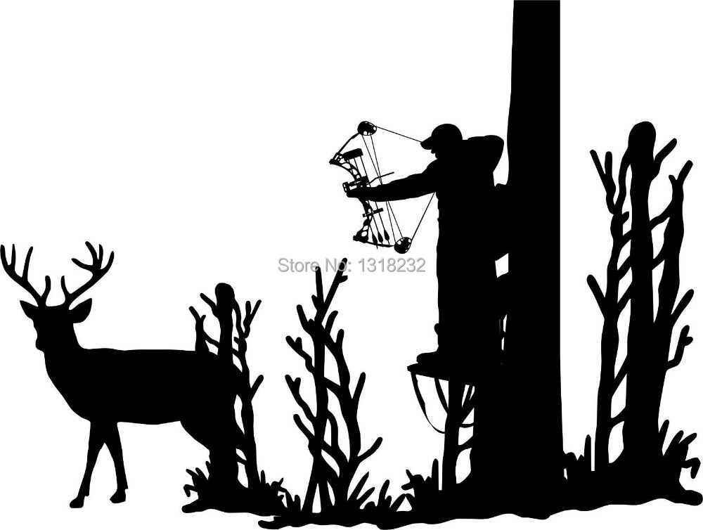 Hunting Deer Tree Stand Bow Gun Whitetail Car Truck Window Vinyl Wall Decal Animal Mural Wall