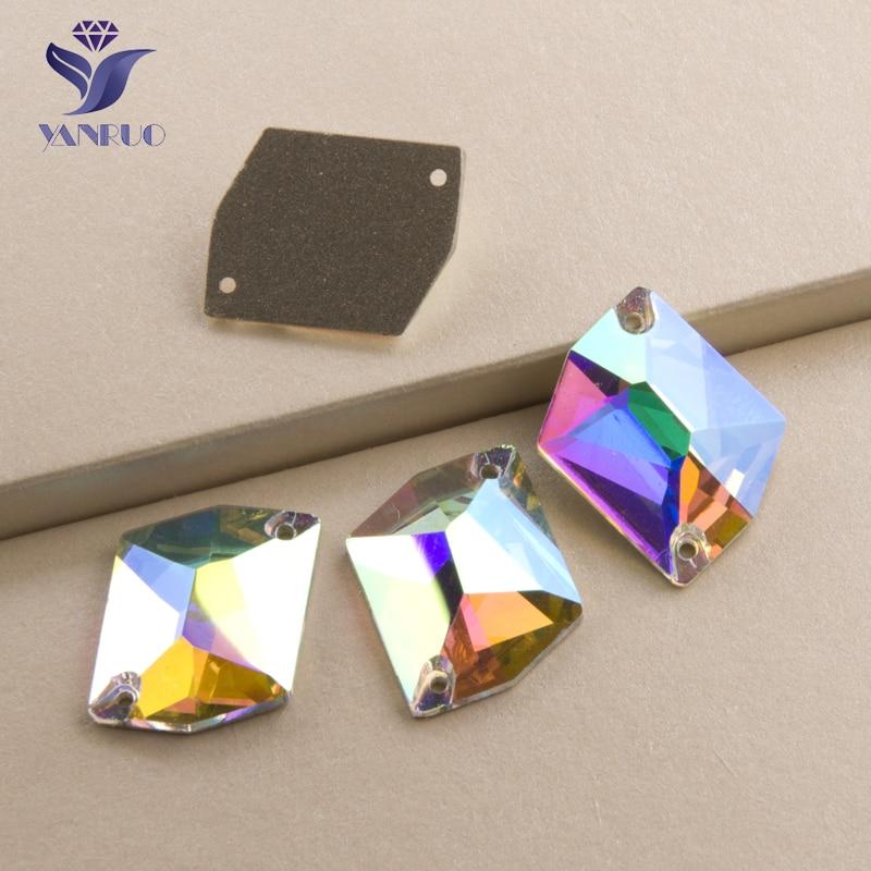 YANRUO #3265 All Sizes AB Cosmic Sew On Stones Crystal Flatback Strass Sewing Rhinestone For Dress Decoration