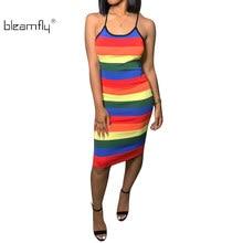 Rainbow Printed Dress Women Summer Sexy Sleeveless Striped Boho Beach  Sundress Ladies Casual Bodycon Backless Party Dresses 7cc982948306