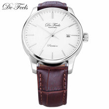 DE Feels Movt Miyota 9015 Men Automatic Mechanical Watches with Brand Luxury Sapphire Glass and Leather Strap Relogio Masculino