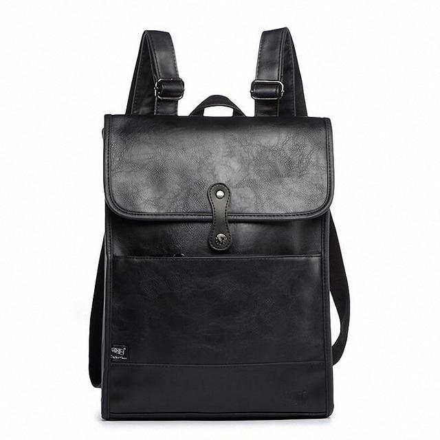 Three Box Men Leather Backpacks School Bags For Teenagers College Bookbag Laptop Travel