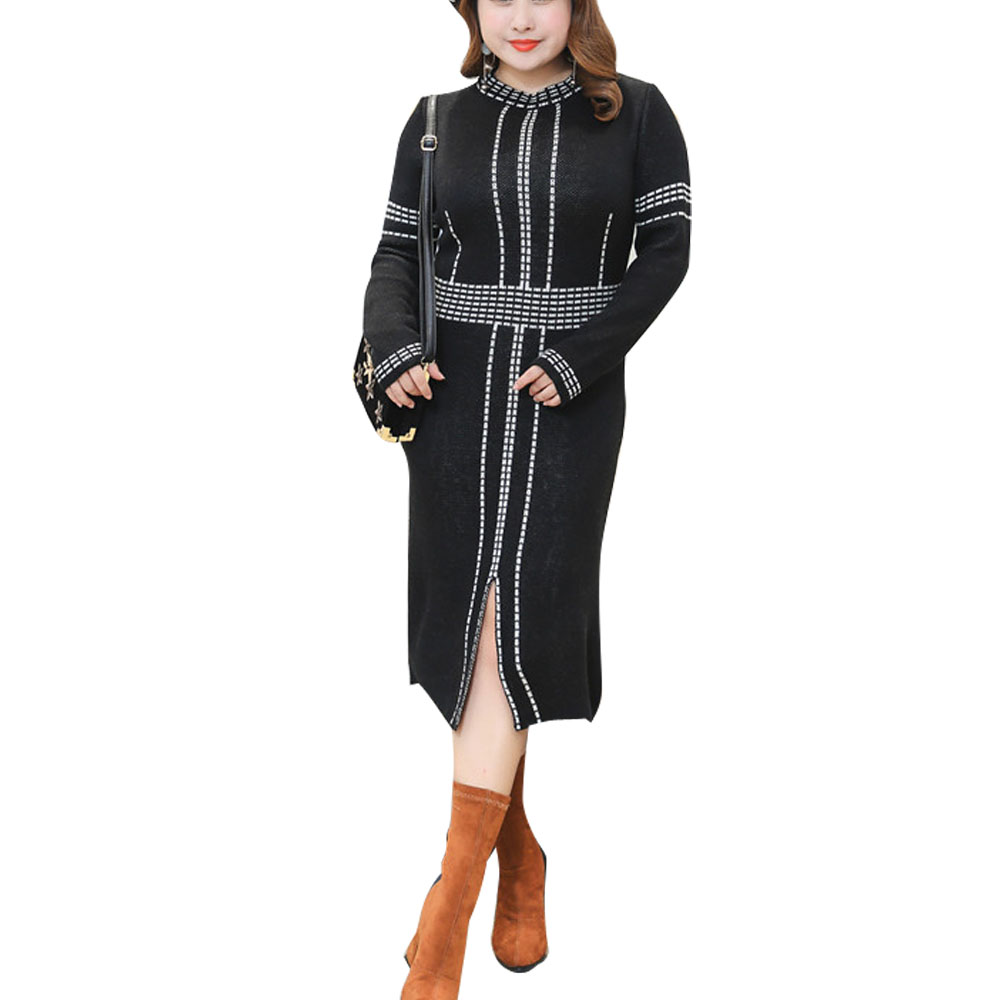 Plus Size Women Knitted Dress Female Fashion Casual Long Sleeve Slim Fit Work Wear Dress Lady Party Sweater Dresses