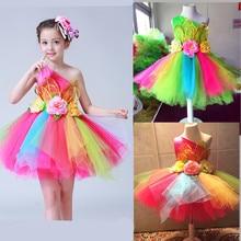 الملونة الزهور ستاندارت السالسا فستان رقص للفتيات مثير الحديثة ملابس رقص للفتيات الرقص ارتداء أطفال أطفال المنافسة