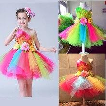 Kolorowe kwiaty standardowa sukienka do salsy dla dziewczynek Sexy nowoczesny kostium taneczny dla dziewczynek ubrania taneczne konkurs dla dzieci dla dzieci