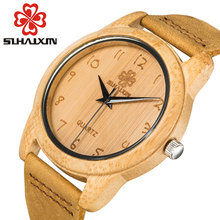 Fashion Bamboo Wood Watch Mens Bracelet Genuine Leather Band Wooden Watches Vintage Unisex Quartz Wristwatch For Men Clock 2017