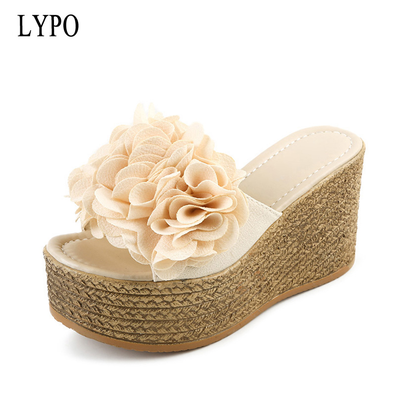 цена на LYPO Slipper women summer fashion wear waterproof platform wedges sandals thick bottom with high heel sponge cake slippers