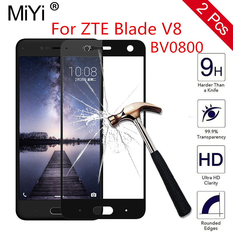 2 Pcs For ZTE Blade V8 V 8 BV0800 5.2INCH Full cover HD Tempered Glass Screen Protector for zte v8 9H Protective Guard Film Case
