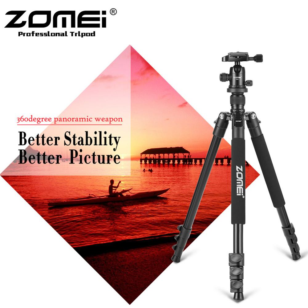 ZOMEI Q555 Pro Portable Aluminum Digital Camera Tripod Monopod With Ball Head + 1/4 Quick Release Plate For SLR digital cameras pro q308 aluminum portable digital photography tripod with ball head