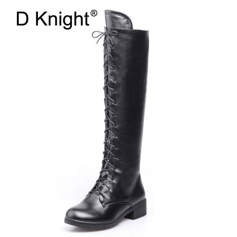 New Fashion Round Toe Lace Up Knee High Boots For Women Vintage Ladies Casual Flat Riding Boots England Style Winter High Boots free shipping south korean style winter new nubuck fashion high heels round toe side zipper lace up riding boots women boots