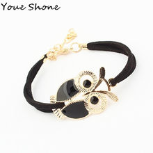 Fashion Vintage Owl Bracelet Animal Accessories Female Jewelry hand Made Velvet Bracelet Necklace on hand for women(China)