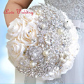 Hotsale Handmade Top Quality Luxury Beaded Brooch Silk Bride Wedding Bouquet Bridesmaid Artificial Flower Customizable