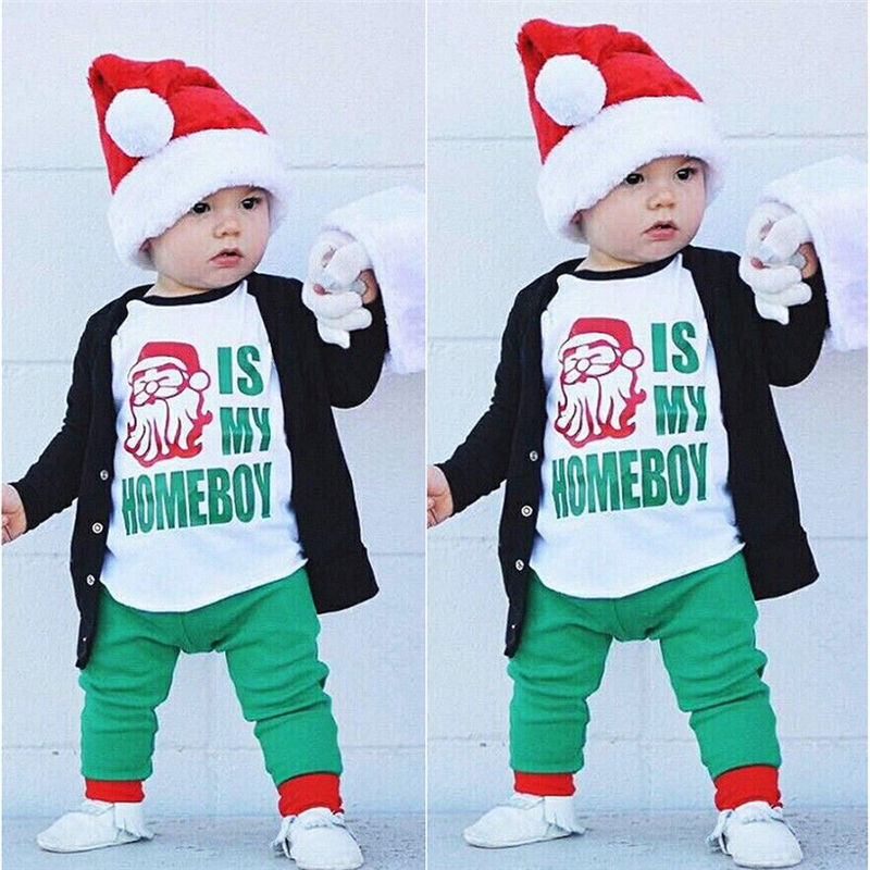 Xmas Fall Baby Boy Clothes Set Toddler Kids Boys Santa Top T-shirt Pants 2Pcs Christmas 2017 New Bebes Boys Clothing Sets 1-6T baby fox print clothes set newborn baby boy girl long sleeve t shirt tops pants 2017 new hot fall bebes outfit kids clothing set