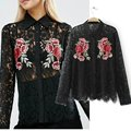 2017 New Fashion Black Lace Blouse Women Long Sleeve Embroidered Open shirts Tops