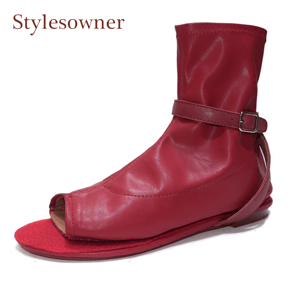 Stylesowner hot sale peep toe hook loop women ankle boots black white wine red real leather flats novelty design sandals boots