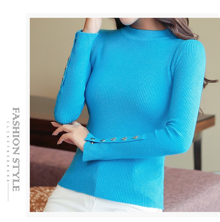 Fashion 19 New Spring Autumn Women Sweater Knitted Long Sleeve O-Neck Sexy Slim Office Lady Button Casual Sweaters Tops 22