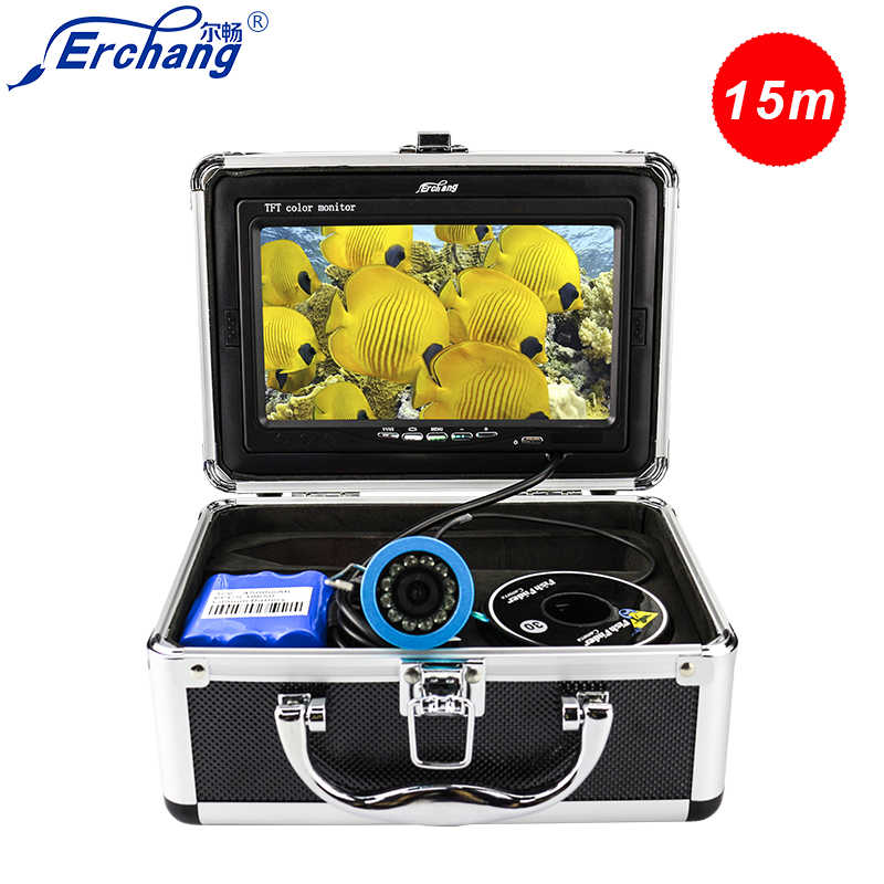 "Erchang DV3524 1000TVL Underwater Fishing Camera 15M Cable Waterproof Camera Fish Finder 7"" Monitor Infrared IR LED Ice Fishing"