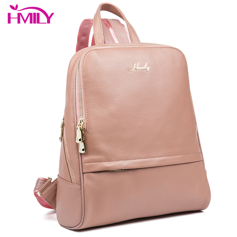 HMILY Genuine Leather Women Bag Brand Leather Teenager Daypack For Girl Classic Style Female Backpack Natural Cowhide School Bag