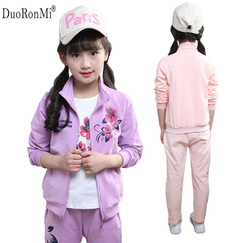 DuoRonMi Autumn Girls Clothing Sets Girls Sports Suit 3pcs set Children Casual Outfits Floral Coat+Shirt+Pant Tracksuit Kids Set autumn winter girls children sets clothing long sleeve o neck pullover cartoon dog sweater short pant suit sets for cute girls