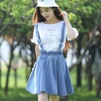 Japanese College Lady Vintage Suspenders Jeans Skirt Summer All Match Kawaii Pleated Strap Mini Tutu Skirt For School Girl