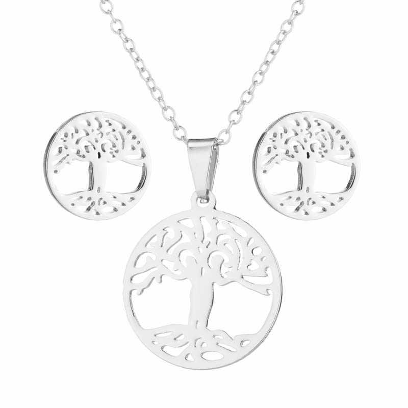Oly2u ต้นไม้ของสแตนเลส Choker สร้อยคอชุดสำหรับต่างหูผู้หญิง Collar Collier สร้อยคอเครื่องประดับชุดของขวัญ