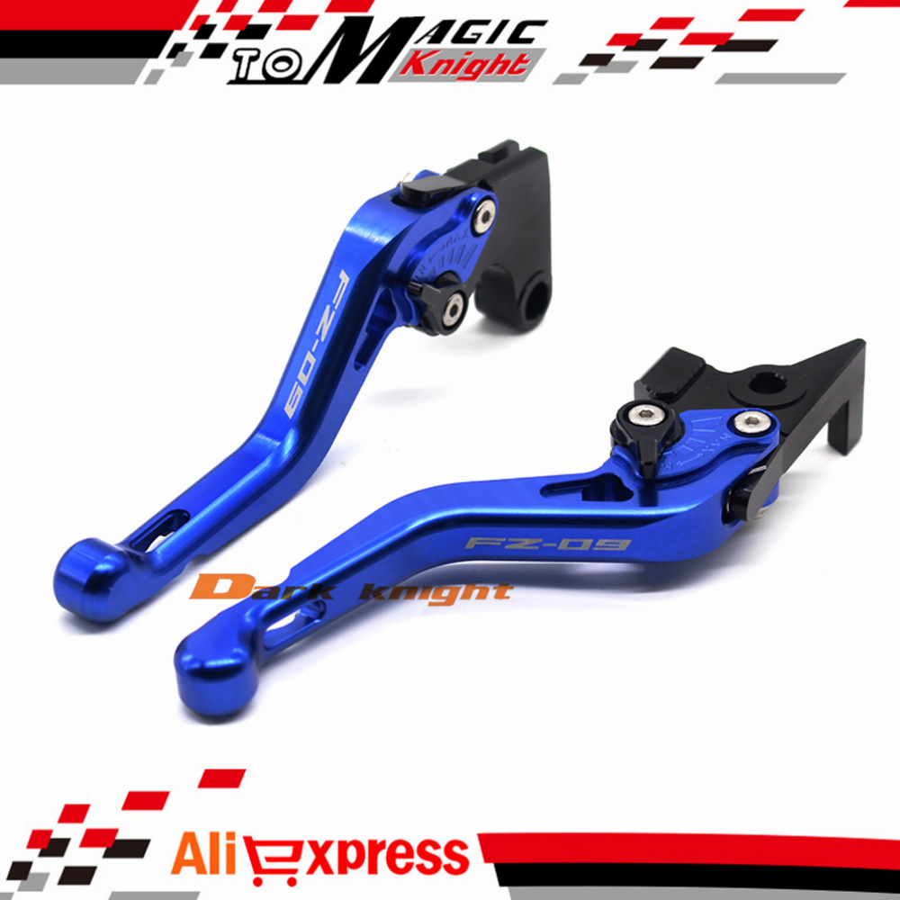 ФОТО For YAMAHA FZ09 FZ-09 2014-2015 Blue Motorcycle CNC Billet Aluminum Short Brake Clutch Levers Logo FZ-09