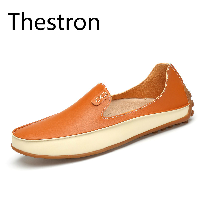 Thestron Loafers Men Casual Shoes Men Yellow Mens Loafers Leather Big Size Plus Size 45 46 47 Mens Shoes Casual Shoes Fashion