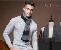הגעה חדשה של גברים צמר משובץ זמש חם האופנה זכר עסקי עבה צעיפי צמר מתנה לחג המולד צעיף משובץ B-3842