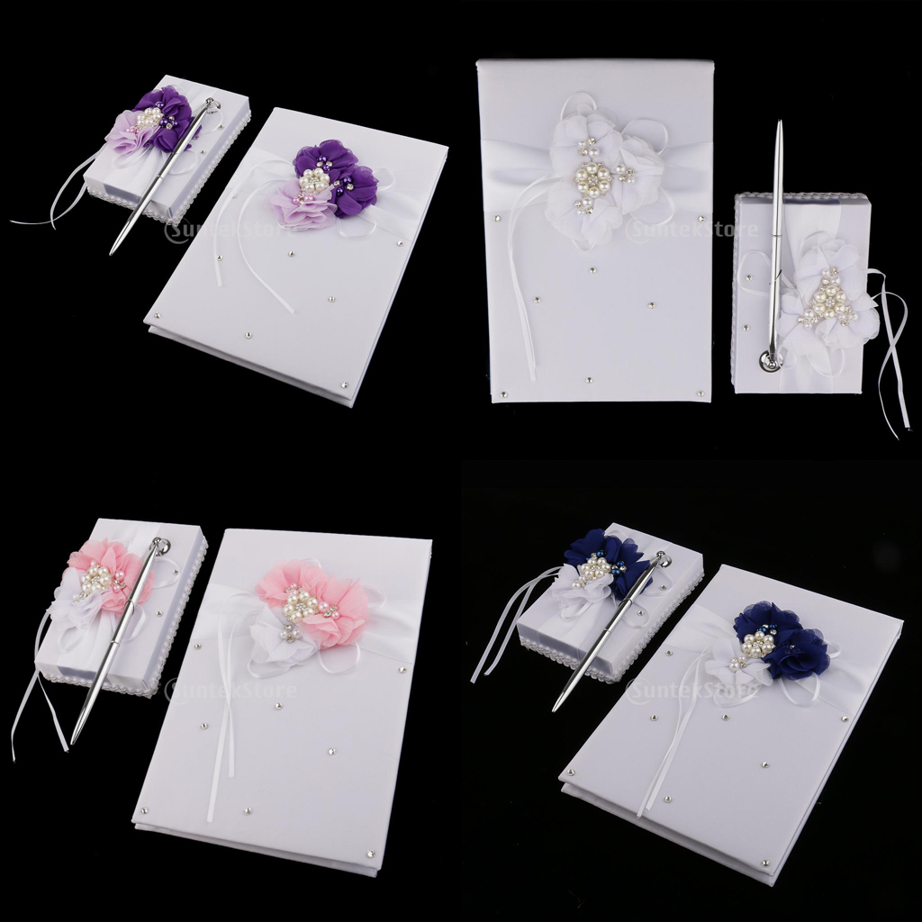 White Satin Flower Wedding Guest Book & Signing Pen Set with Pearls Crystal