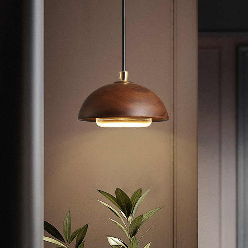 Buy LukLoy LED Nordic Minimalist Wooden Pendant Light Bedside Bedroom Living Room Clothing Single Head Hanging Lamp Wooden Retro for only 76.7 USD