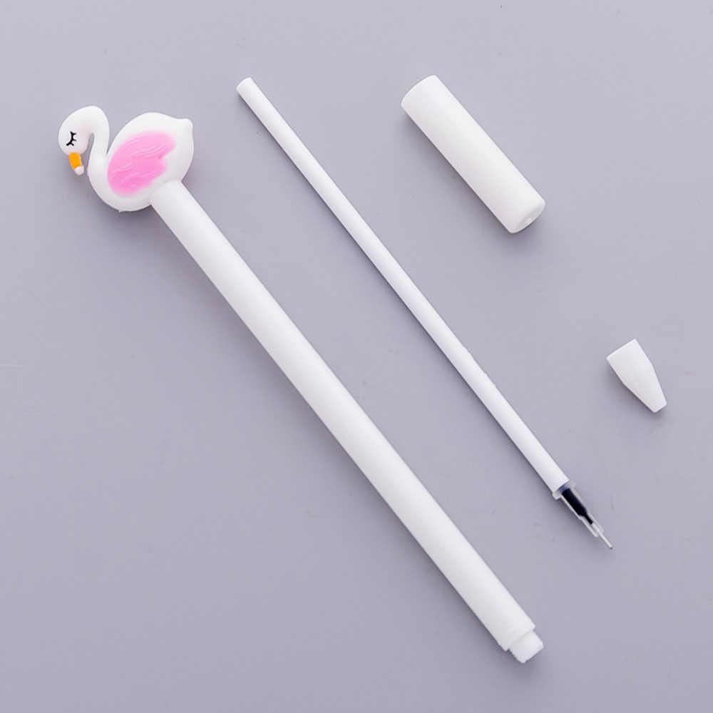 1 PC lindo hermoso de la suerte de flamenco rosa cisnes Gel pluma Kawaii papelería bolígrafos material oficina escuela suministros herramienta de escritura