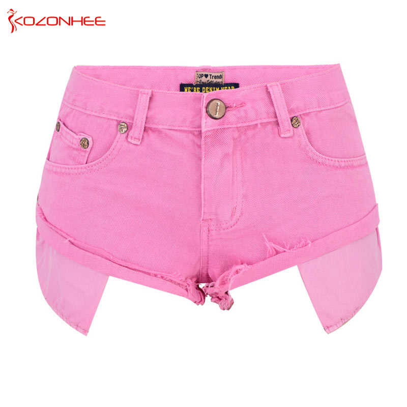 Loose Women Pink Denim Shorts High Waist Straps Tassel Denim Shorts Female Summer Jeans Short #15