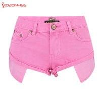 Loose Women Pink Denim Shorts High Waist Straps Tassel Denim Shorts Female Summer Jeans Short #15