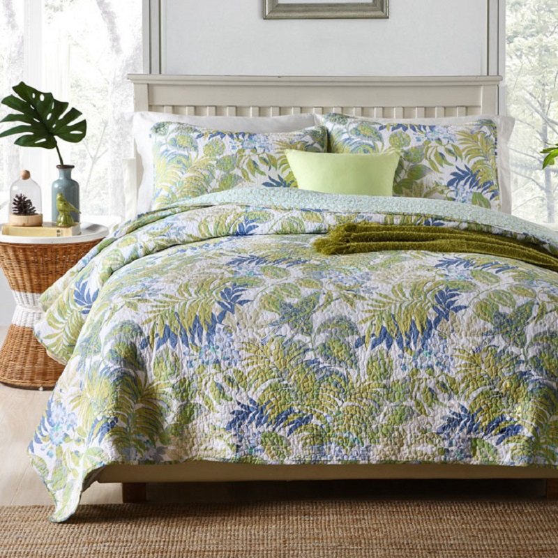 Chausub Quality Quilt Set 3pc Palm Leaves Cotton Quilts