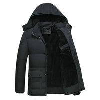 블랙 겨울 자켓 남자 두꺼운 파카 캐주얼 자켓 windproof 따뜻한 겨울 코트 망 후드 양털 중년 남성 outwear