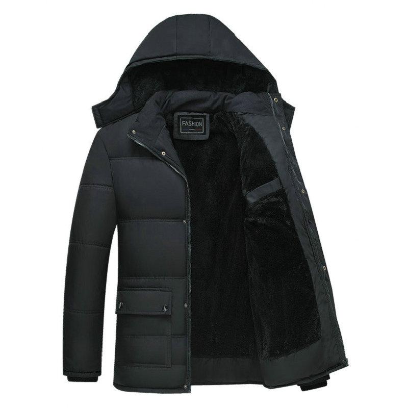Black Winter Jacket Men Thick Parkas Casual Jackets Windproof Warm Winter Coat Mens Hooded Fleece Middle-aged Male Outwear