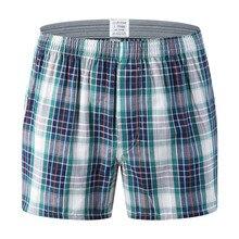 Мужское нижнее белье, боксеры, шорты, Повседневная хлопковая одежда для сна, мужские свободные трусы в клетку, 126