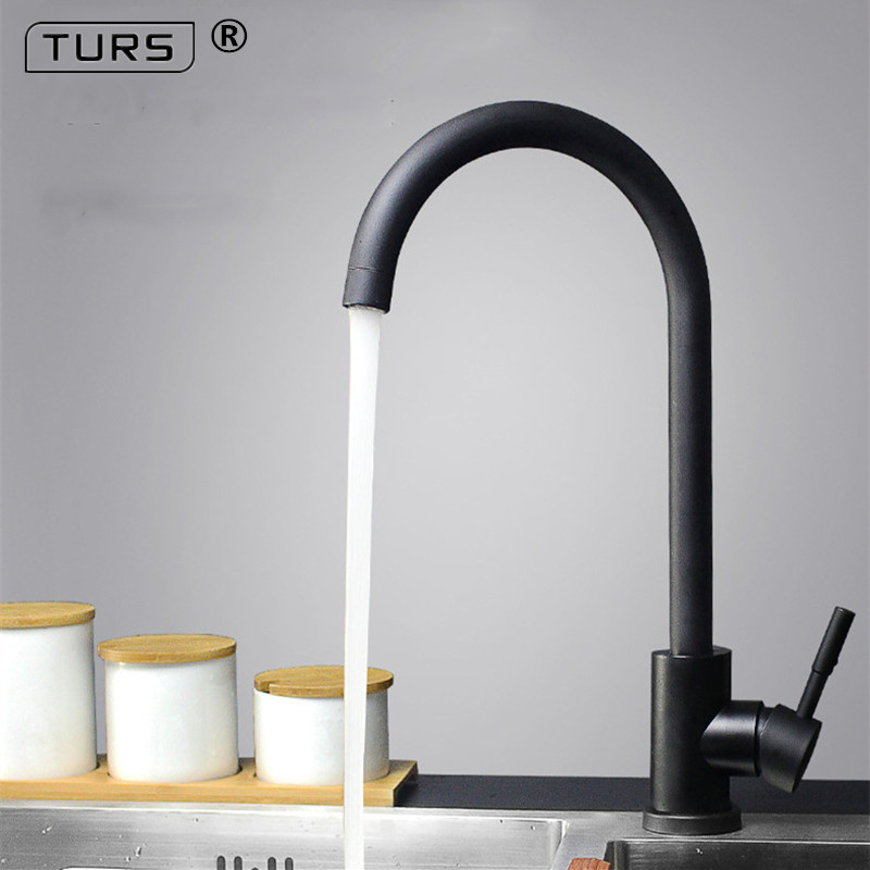 Kitchen Faucet Black SUS 304 Stainless 360 Degree Hot and Cold Kitchen Water Tap Mixer Dual Sink Rotation with Aerator 2016 newest basin faucet kitchen sink faucet space aluminum 360 degree rotation hot and cold water tap mixer torneira cozinha