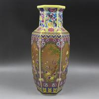 Antique SongDynaty porcelain vase,Painted gold enamel six sided bottle ,Home Decoration collection & adornment,Free shipping