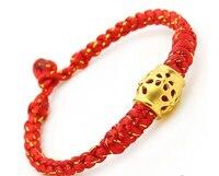 Pure 24K Yellow Gold Bracelet / Men&Women Knitted gold wire honey Pot Bracelet