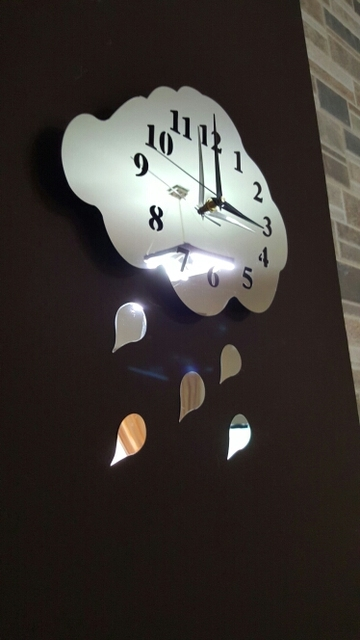 Funlife Mirror Wall Clock,38x48cm(15x19in) Rain Cloud Clock Mirror ...