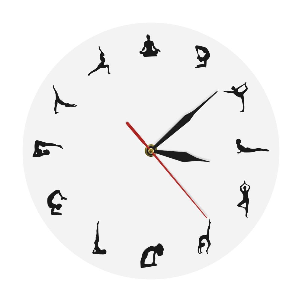 Yoga Positionen Wanduhr Yoga Meditation Wand Decor Geschenk Yoga Hindu Philosophie Align Selbst Spirituelle Yogi Moderne Wanduhr