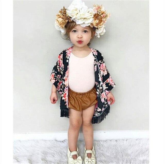New Floral Trẻ Em Cô Gái T-Shirt Ngắn Tay Mùa Hè Cardigan Voan Quần Áo Mặc Con Kids Toddler Girl Kimono Trang Phục