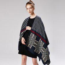 f658843e76ff 2018 hiver écharpe pour femmes poncho et casquettes mode cachemire echarpes  pashmina chaud épais plaid Couverture en tricot dame.