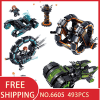 KAZI 6605 493Pcs Future Police Space Ship Racing Car War Weapon X men Building Blocks Bricks Educational Toys for children