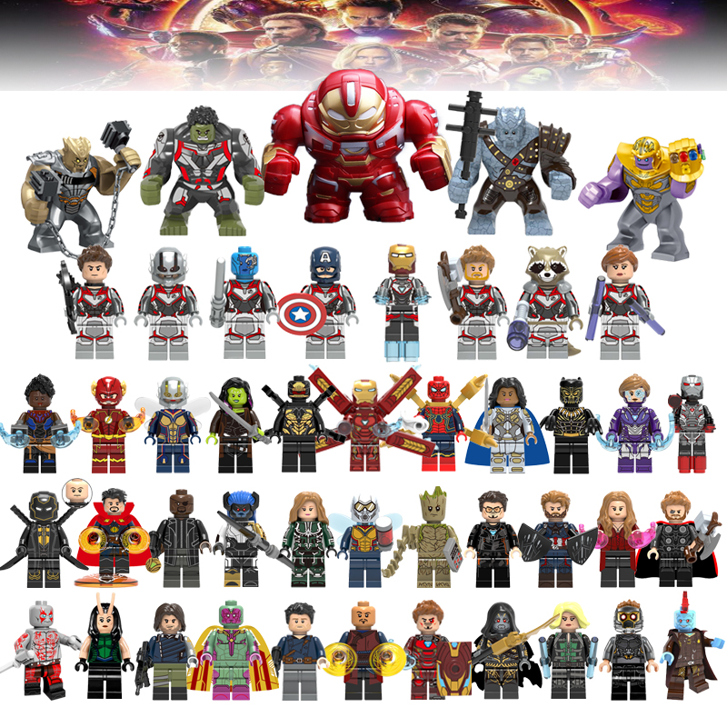 46Pcs Avengers 4 Captain Marvel Endgame Thanos Thor America Hulk Figures Legoelys Spiderman Iron Man Building Block Set