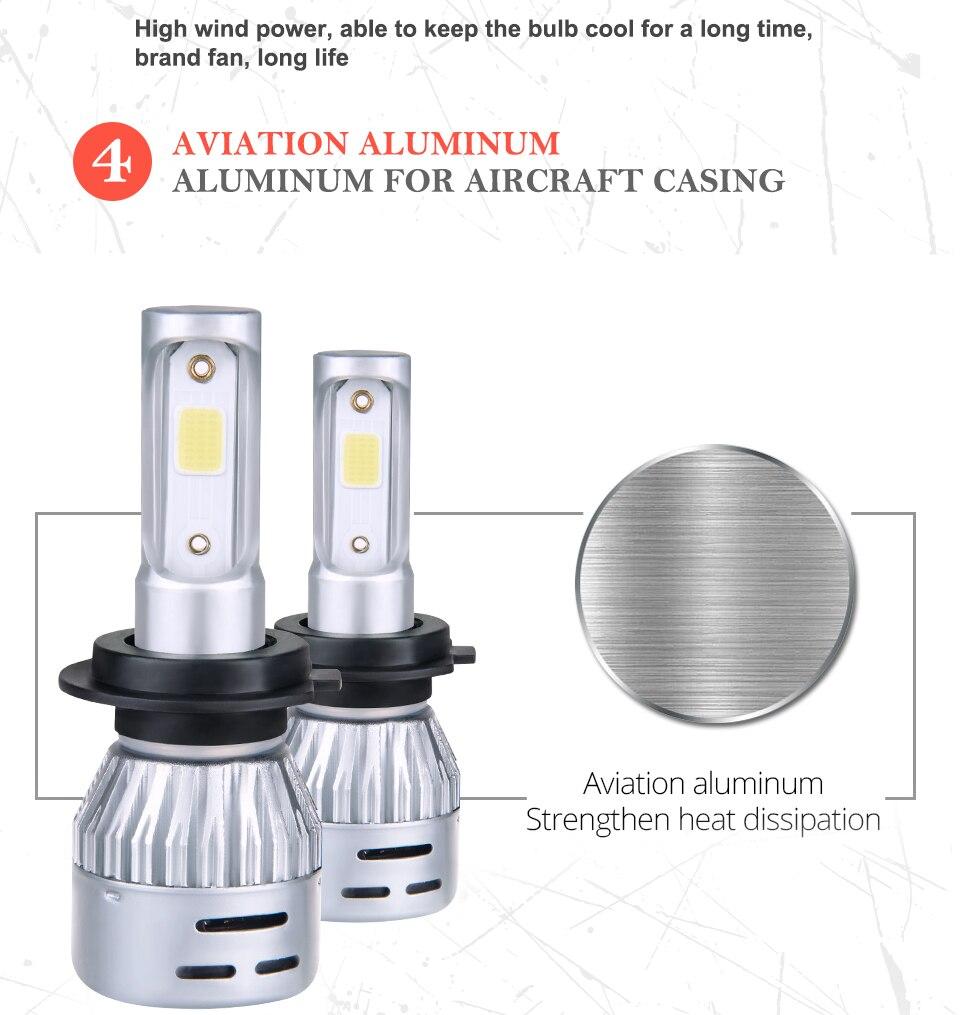 Aceersun H4 LED H7 H1 H11 H8 H9 9005 HB3 HB4 9006 Mini Car headlight 72W 8000LM COB 3000K 4300K 6500K 8000K Hi Lo Beam 12V 24V (12)