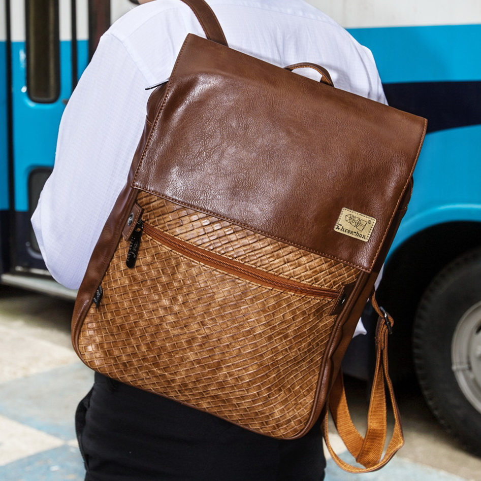 mens boys brand new PU Leather preppy style backpacks school bags K109 - Fashion bags-just for you store