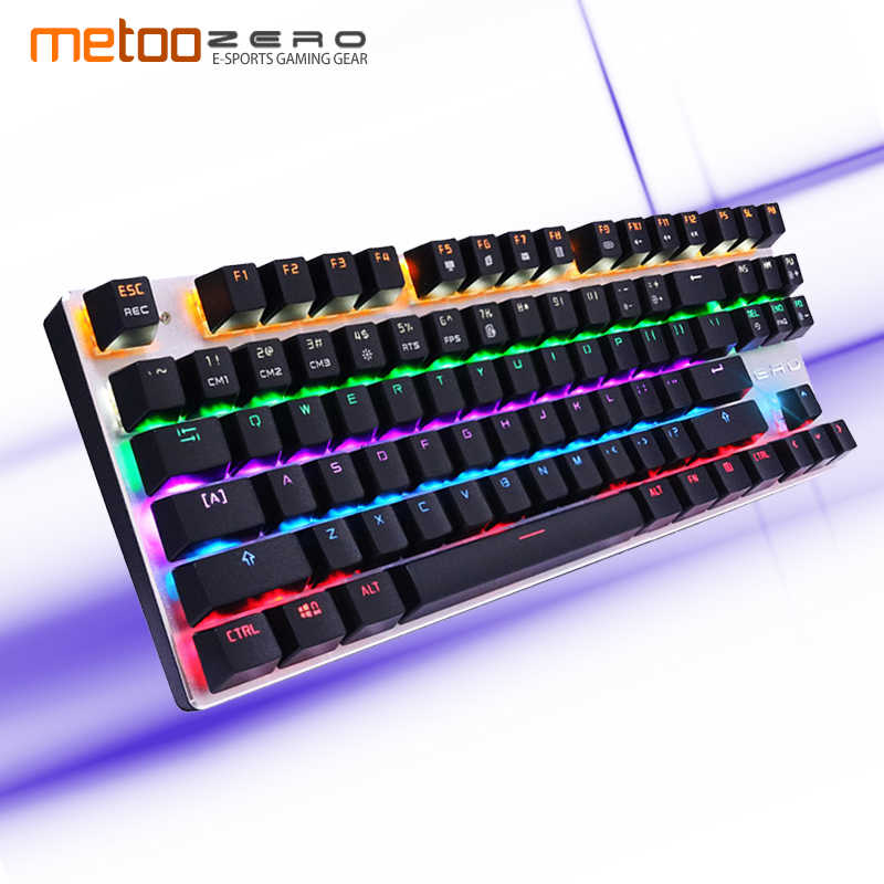 Original Metoo Mechanical Keyboard 87/104 Key Red/Blue Switch Gaming Wired Keyboard LED Backlit Anti-Ghosting for Gamer Computer